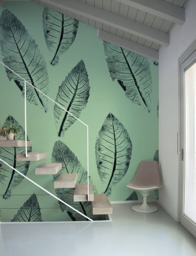 Carta-da-parati-foglie-e-piante-Limonta-Pix-Art-Nespola-Flora-e-Fauna-dettaglio-AERREe